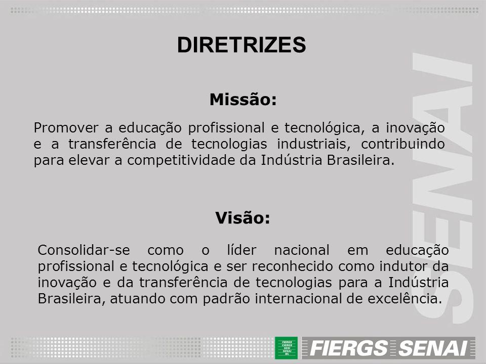DIRETRIZES Missão: Promover a educação profissional e tecnológica, a inovação e a transferência de tecnologias industriais, contribuindo para elevar a