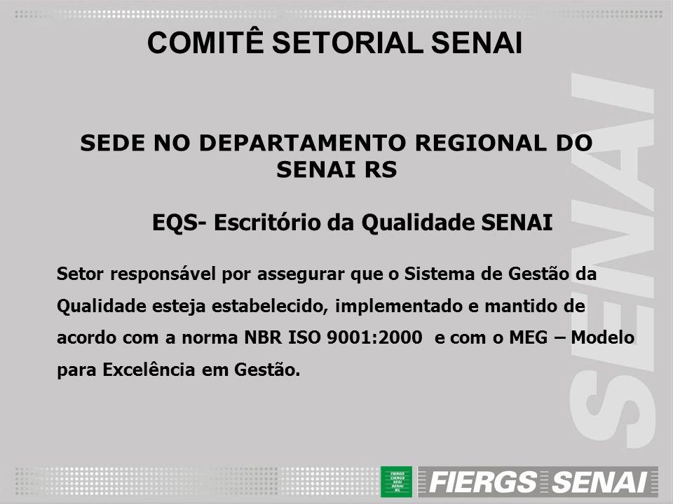 COMITÊ SETORIAL SENAI SEDE NO DEPARTAMENTO REGIONAL DO SENAI RS EQS- Escritório da Qualidade SENAI Setor responsável por assegurar que o Sistema de Ge
