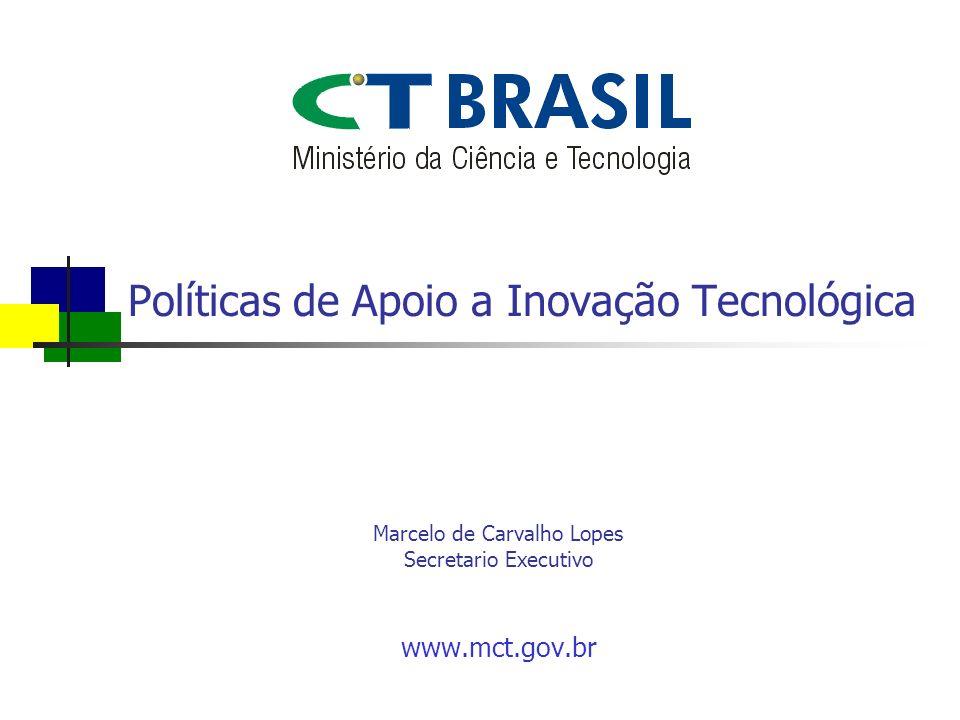Políticas de Apoio a Inovação Tecnológica www.mct.gov.br Marcelo de Carvalho Lopes Secretario Executivo