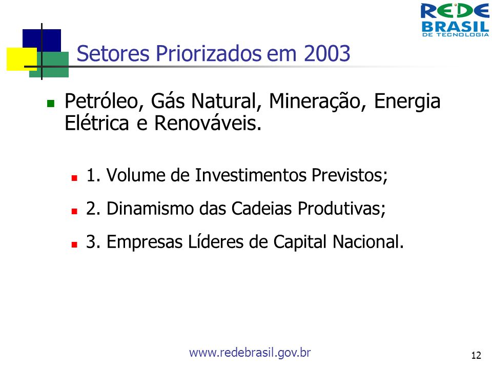 www.redebrasil.gov.br 12 Setores Priorizados em 2003 Petróleo, Gás Natural, Mineração, Energia Elétrica e Renováveis. 1. Volume de Investimentos Previ