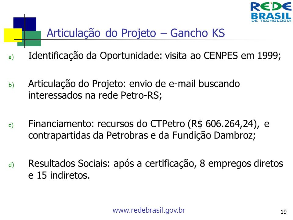 www.redebrasil.gov.br 19 Articulação do Projeto – Gancho KS a) Identificação da Oportunidade: visita ao CENPES em 1999; b) Articulação do Projeto: env