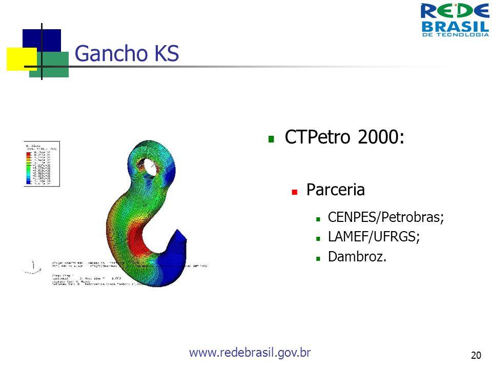 www.redebrasil.gov.br 20 Gancho KS CTPetro 2000: Parceria CENPES/Petrobras; LAMEF/UFRGS; Dambroz.