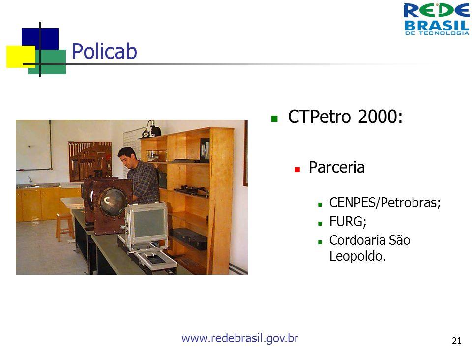 www.redebrasil.gov.br 21 Policab CTPetro 2000: Parceria CENPES/Petrobras; FURG; Cordoaria São Leopoldo.