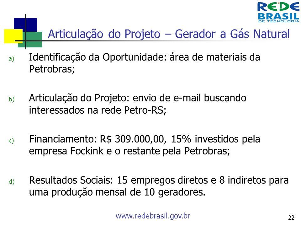 www.redebrasil.gov.br 22 Articulação do Projeto – Gerador a Gás Natural a) Identificação da Oportunidade: área de materiais da Petrobras; b) Articulaç