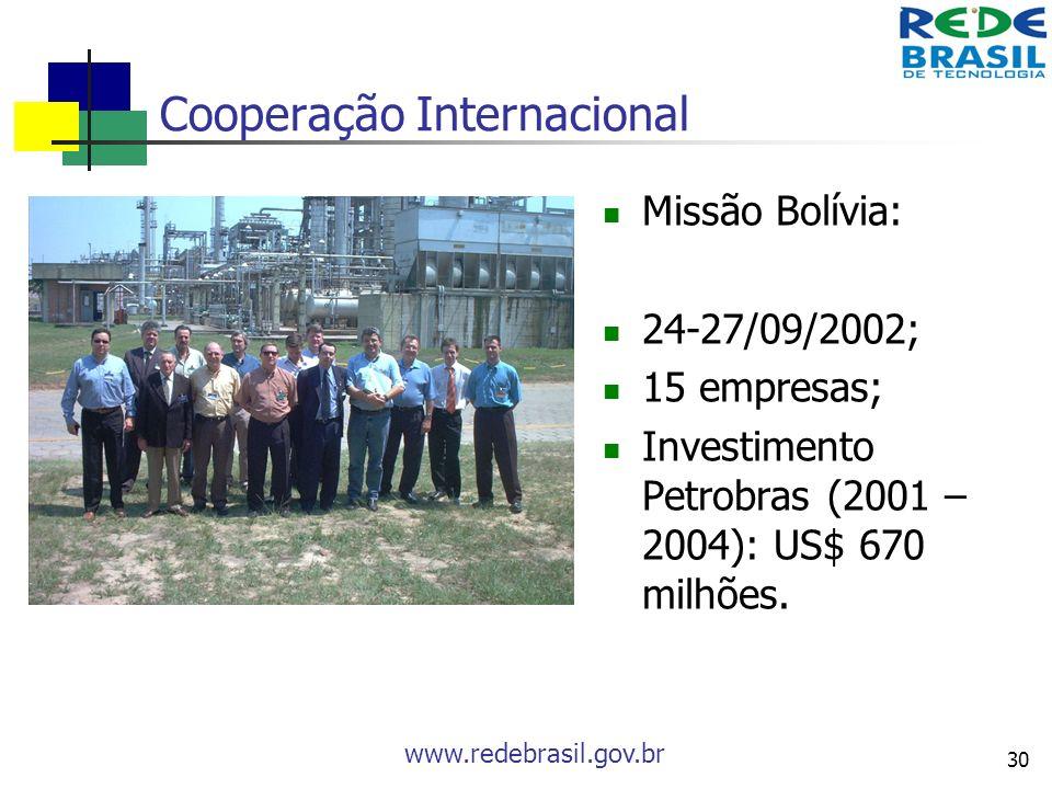 www.redebrasil.gov.br 30 Cooperação Internacional Missão Bolívia: 24-27/09/2002; 15 empresas; Investimento Petrobras (2001 – 2004): US$ 670 milhões.