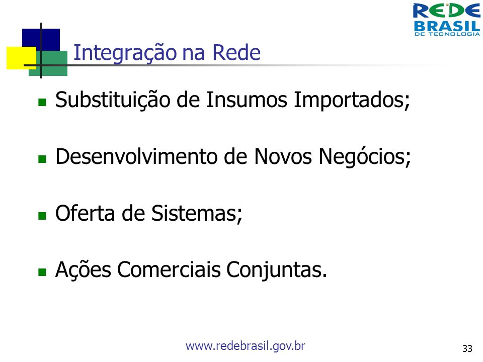 www.redebrasil.gov.br 33 Integração na Rede Substituição de Insumos Importados; Desenvolvimento de Novos Negócios; Oferta de Sistemas; Ações Comerciai