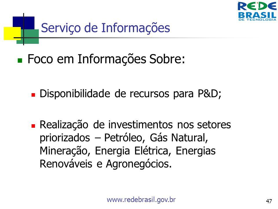 www.redebrasil.gov.br 47 Serviço de Informações Foco em Informações Sobre: Disponibilidade de recursos para P&D; Realização de investimentos nos setor