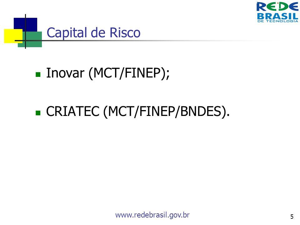 www.redebrasil.gov.br 5 Capital de Risco Inovar (MCT/FINEP); CRIATEC (MCT/FINEP/BNDES).