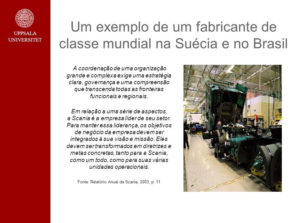 UPPSALA UNIVERSITET Um exemplo de um fabricante de classe mundial na Suécia e no Brasil A coordenação de uma organização grande e complexa exige uma e
