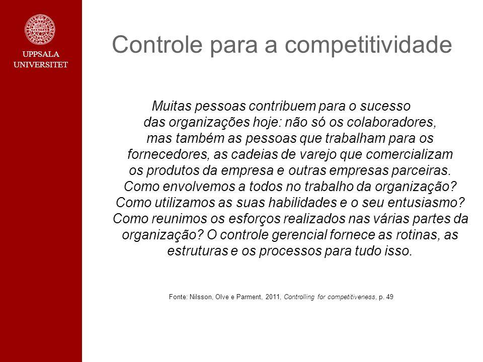 UPPSALA UNIVERSITET Controle para a competitividade Muitas pessoas contribuem para o sucesso das organizações hoje: não só os colaboradores, mas també