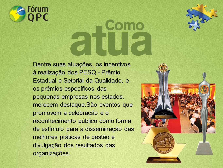 Dentre suas atuações, os incentivos à realização dos PESQ - Prêmio Estadual e Setorial da Qualidade, e os prêmios específicos das pequenas empresas no