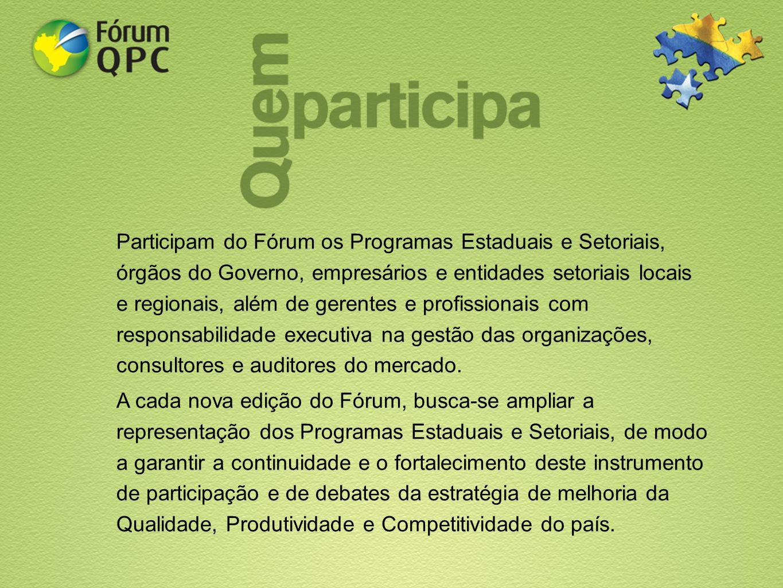 Participam do Fórum os Programas Estaduais e Setoriais, órgãos do Governo, empresários e entidades setoriais locais e regionais, além de gerentes e pr