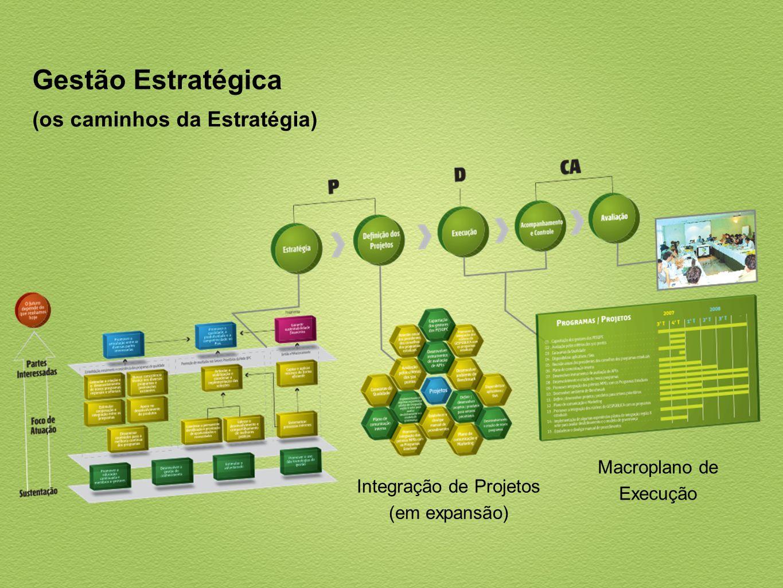 Gestão Estratégica (os caminhos da Estratégia) Integração de Projetos (em expansão) Macroplano de Execução