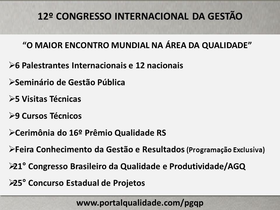 www.portalqualidade.com/pgqp 12º CONGRESSO INTERNACIONAL DA GESTÃO 6 Palestrantes Internacionais e 12 nacionais Seminário de Gestão Pública 5 Visitas