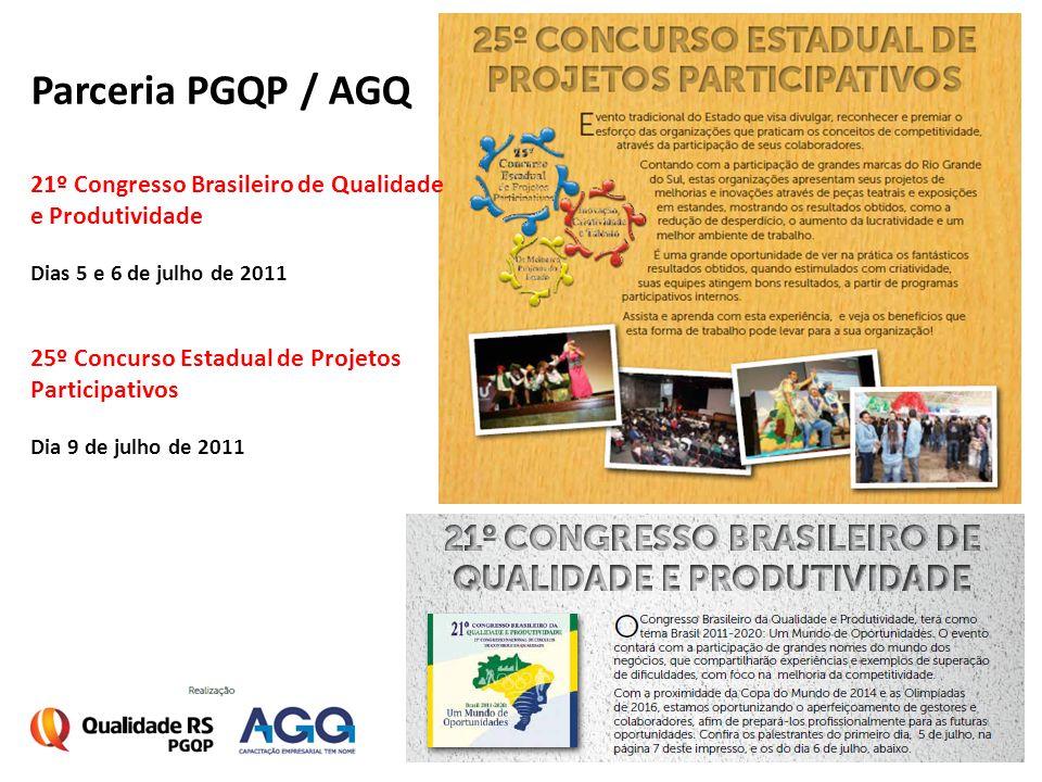 Parceria PGQP / AGQ 21º Congresso Brasileiro de Qualidade e Produtividade Dias 5 e 6 de julho de 2011 25º Concurso Estadual de Projetos Participativos