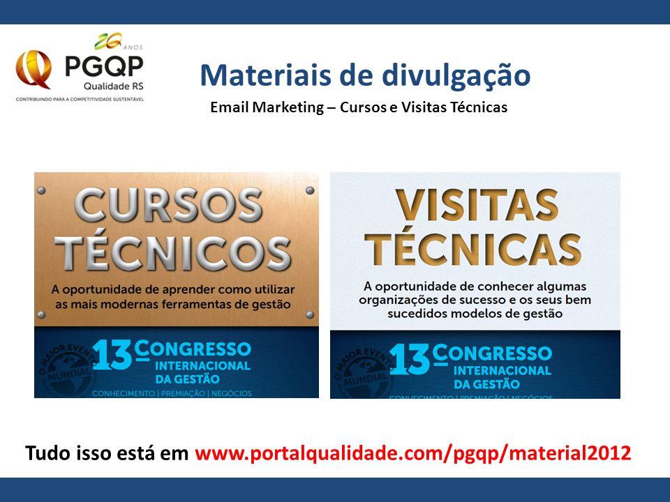 Materiais de divulgação Tudo isso está em www.portalqualidade.com/pgqp/material2012 Email Marketing – Cursos e Visitas Técnicas