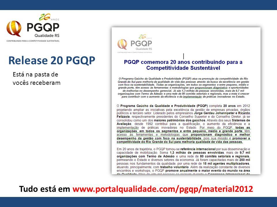 Release 20 PGQP Está na pasta de vocês receberam Tudo está em www.portalqualidade.com/pgqp/material2012