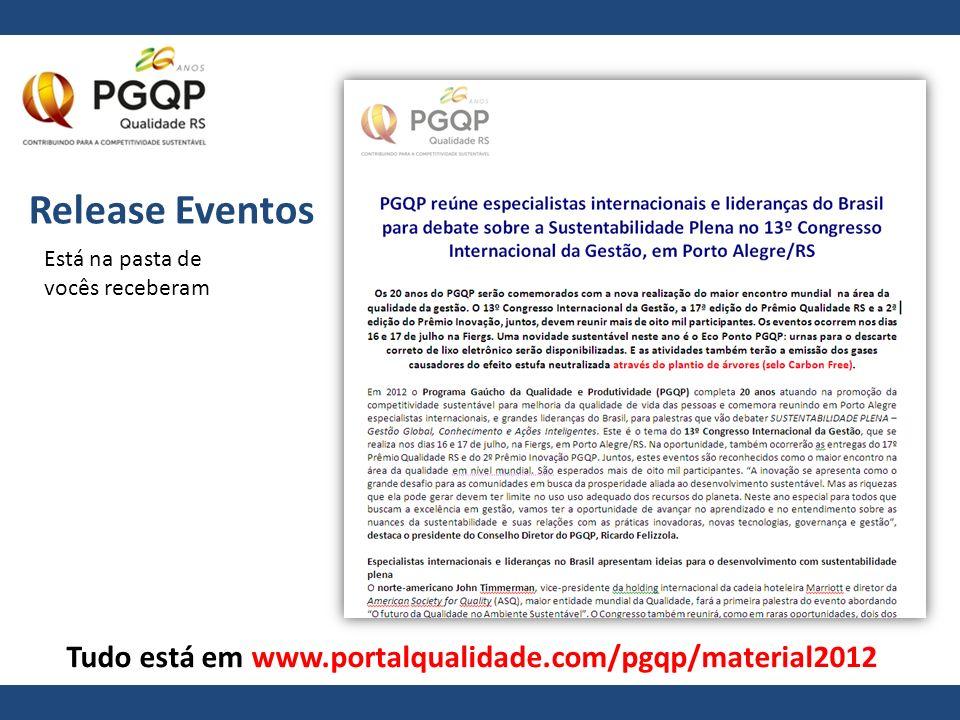 Release Eventos Está na pasta de vocês receberam Tudo está em www.portalqualidade.com/pgqp/material2012