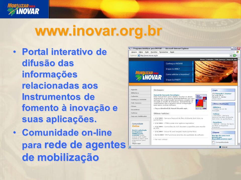 Portal interativo de difusão das informações relacionadas aos Instrumentos de fomento à inovação e suas aplicações.Portal interativo de difusão das informações relacionadas aos Instrumentos de fomento à inovação e suas aplicações.