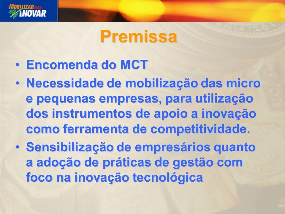 Premissa Encomenda do MCTEncomenda do MCT Necessidade de mobilização das micro e pequenas empresas, para utilização dos instrumentos de apoio a inovação como ferramenta de competitividade.Necessidade de mobilização das micro e pequenas empresas, para utilização dos instrumentos de apoio a inovação como ferramenta de competitividade.