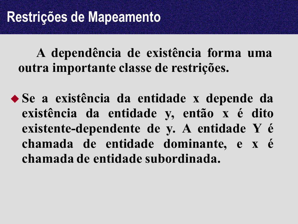 Restrições de Mapeamento Se a existência da entidade x depende da existência da entidade y, então x é dito existente-dependente de y. A entidade Y é c