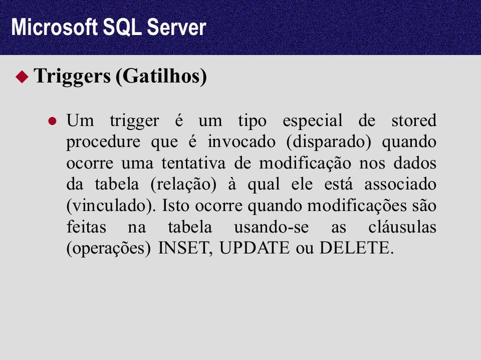Microsoft SQL Server Triggers (Gatilhos) Um trigger é um tipo especial de stored procedure que é invocado (disparado) quando ocorre uma tentativa de m
