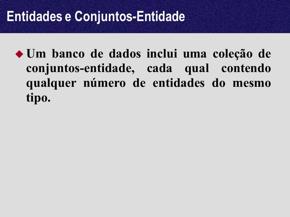 Entidades e Conjuntos-Entidade Um banco de dados inclui uma coleção de conjuntos-entidade, cada qual contendo qualquer número de entidades do mesmo ti