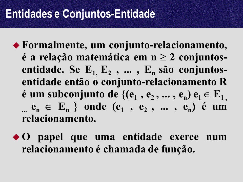 Entidades e Conjuntos-Entidade Formalmente, um conjunto-relacionamento, é a relação matemática em n 2 conjuntos- entidade. Se E 1, E 2,..., E n são co