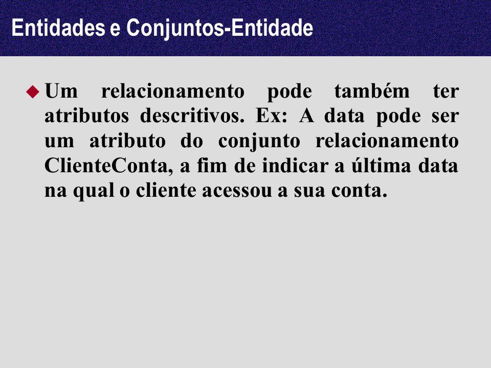 Entidades e Conjuntos-Entidade Um relacionamento pode também ter atributos descritivos. Ex: A data pode ser um atributo do conjunto relacionamento Cli