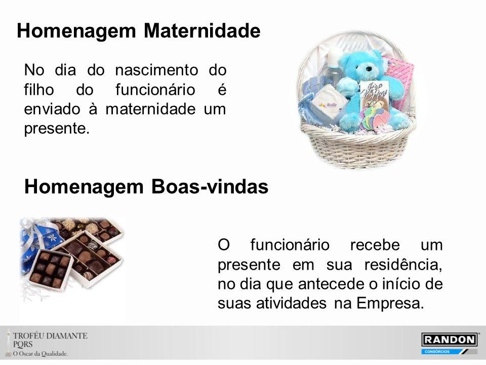 Homenagem Maternidade No dia do nascimento do filho do funcionário é enviado à maternidade um presente.