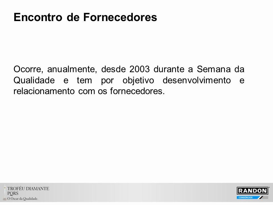 Encontro de Fornecedores Ocorre, anualmente, desde 2003 durante a Semana da Qualidade e tem por objetivo desenvolvimento e relacionamento com os fornecedores.