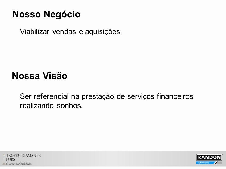 Nosso Negócio Viabilizar vendas e aquisições. Nossa Visão Ser referencial na prestação de serviços financeiros realizando sonhos.