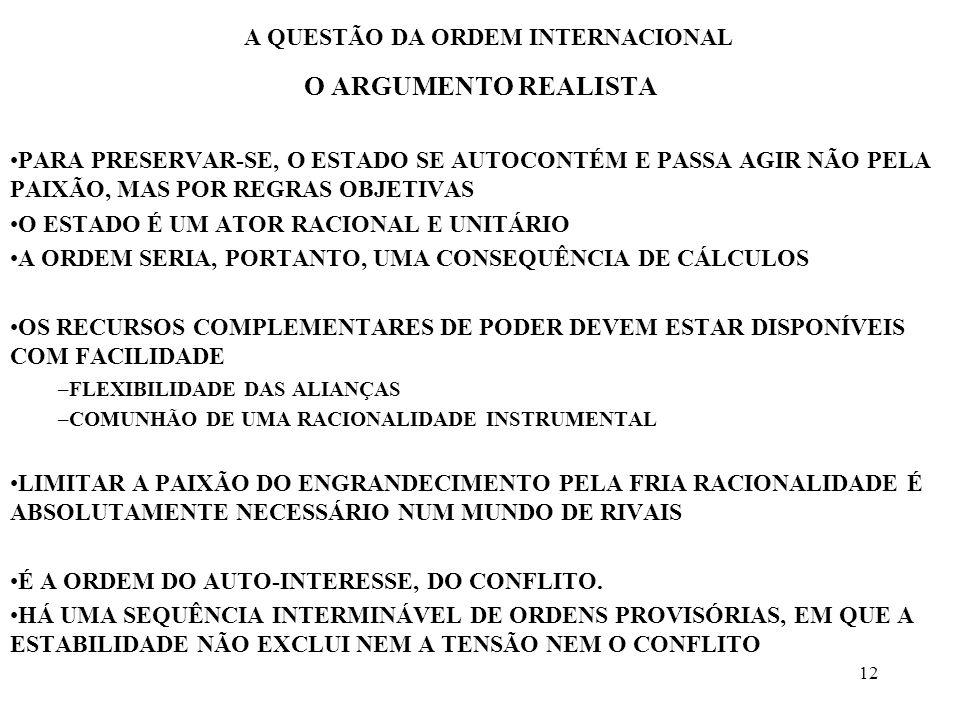 12 A QUESTÃO DA ORDEM INTERNACIONAL O ARGUMENTO REALISTA PARA PRESERVAR-SE, O ESTADO SE AUTOCONTÉM E PASSA AGIR NÃO PELA PAIXÃO, MAS POR REGRAS OBJETI