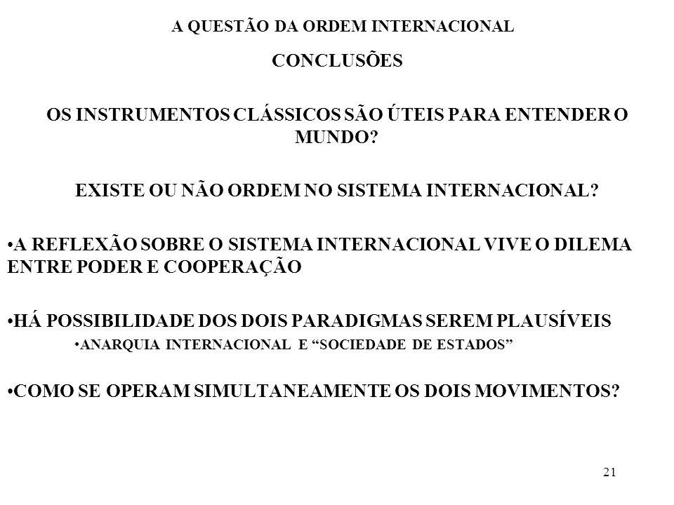 21 A QUESTÃO DA ORDEM INTERNACIONAL CONCLUSÕES OS INSTRUMENTOS CLÁSSICOS SÃO ÚTEIS PARA ENTENDER O MUNDO? EXISTE OU NÃO ORDEM NO SISTEMA INTERNACIONAL