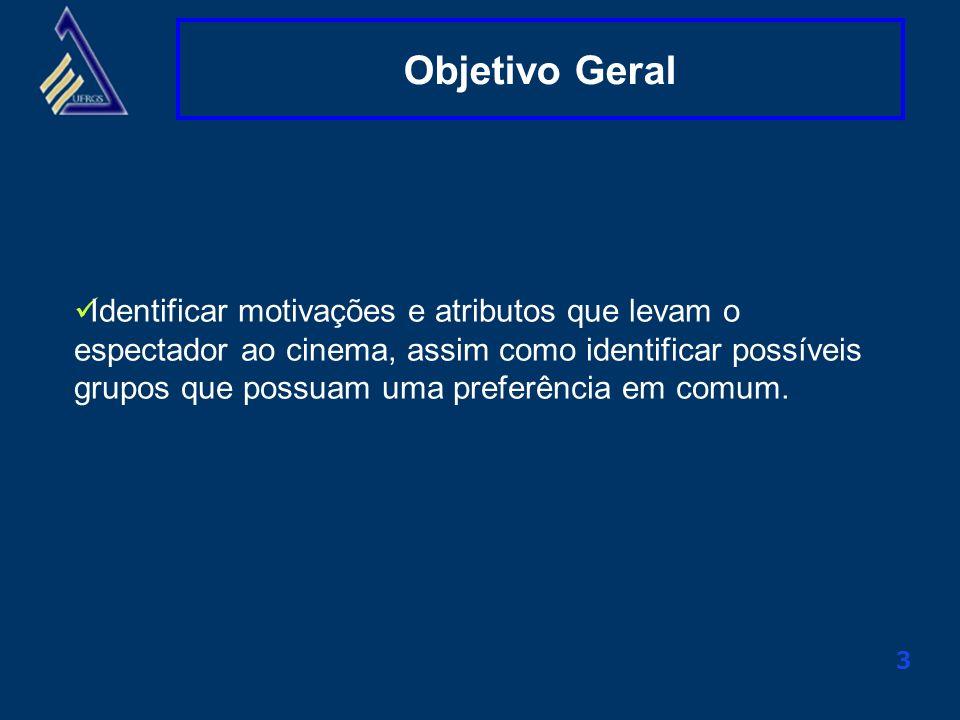 Clique aqui para alterar o título mestre 3 Objetivo Geral Identificar motivações e atributos que levam o espectador ao cinema, assim como identificar