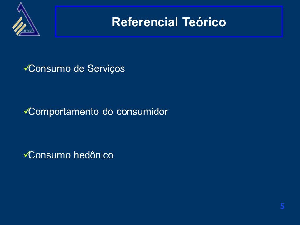 Clique aqui para alterar o título mestre 5 Referencial Teórico Consumo de Serviços Comportamento do consumidor Consumo hedônico