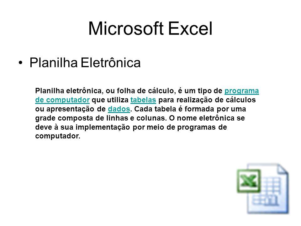 Microsoft Excel Planilha Eletrônica Planilha eletrônica, ou folha de cálculo, é um tipo de programa de computador que utiliza tabelas para realização