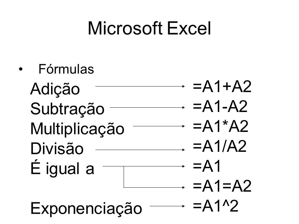 Microsoft Excel Fórmulas Adição Subtração Multiplicação Divisão É igual a Exponenciação =A1+A2 =A1-A2 =A1*A2 =A1/A2 =A1 =A1=A2 =A1^2