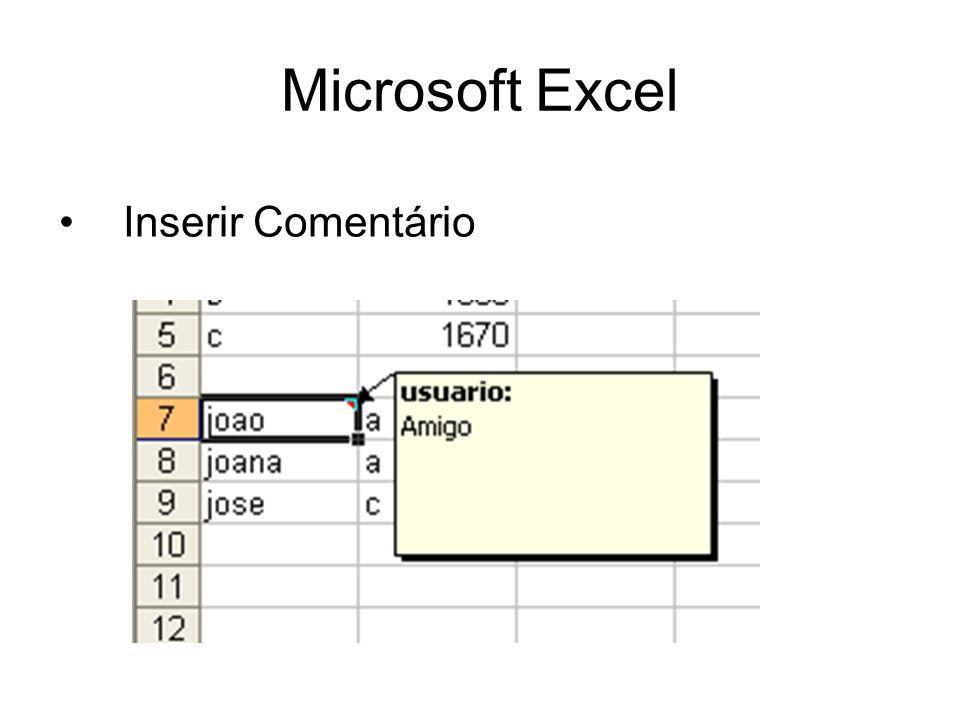 Microsoft Excel Inserir Comentário