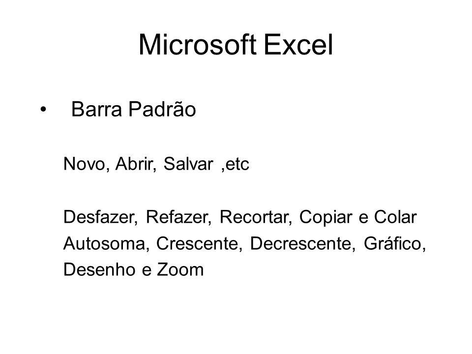Microsoft Excel Barra Padrão Novo, Abrir, Salvar,etc Desfazer, Refazer, Recortar, Copiar e Colar Autosoma, Crescente, Decrescente, Gráfico, Desenho e