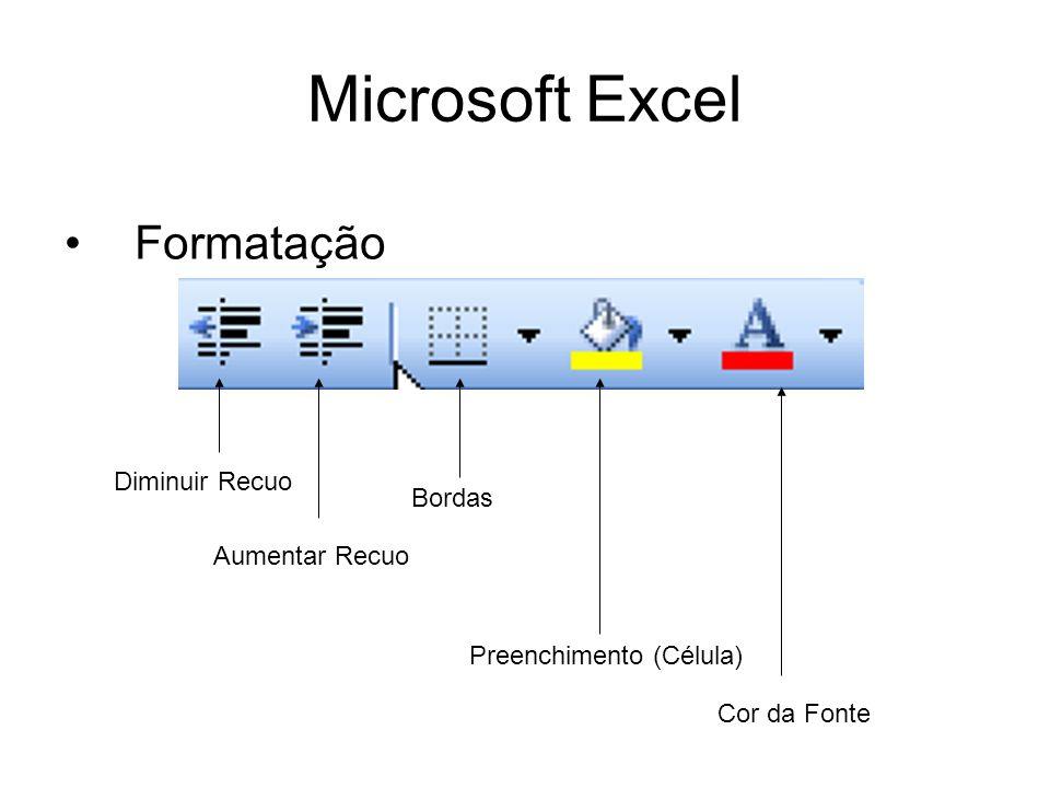 Microsoft Excel Formatação Diminuir Recuo Aumentar Recuo Bordas Preenchimento (Célula) Cor da Fonte