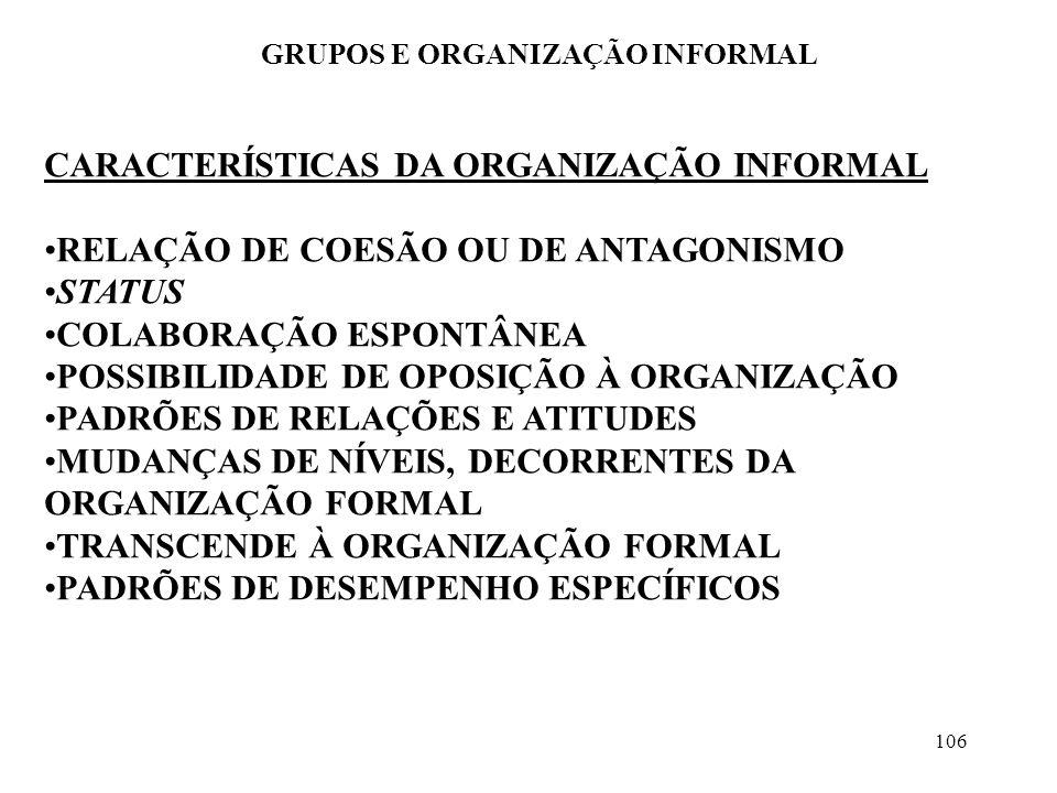 106 GRUPOS E ORGANIZAÇÃO INFORMAL CARACTERÍSTICAS DA ORGANIZAÇÃO INFORMAL RELAÇÃO DE COESÃO OU DE ANTAGONISMO STATUS COLABORAÇÃO ESPONTÂNEA POSSIBILID