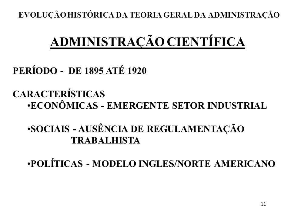 11 EVOLUÇÃO HISTÓRICA DA TEORIA GERAL DA ADMINISTRAÇÃO PERÍODO - DE 1895 ATÉ 1920 CARACTERÍSTICAS ECONÔMICAS - EMERGENTE SETOR INDUSTRIAL SOCIAIS - AU