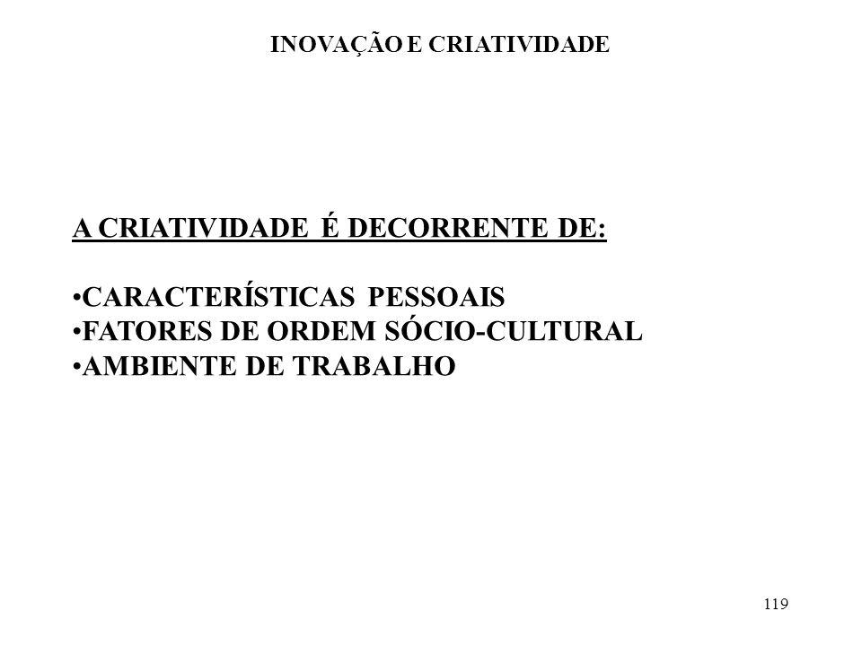 119 INOVAÇÃO E CRIATIVIDADE A CRIATIVIDADE É DECORRENTE DE: CARACTERÍSTICAS PESSOAIS FATORES DE ORDEM SÓCIO-CULTURAL AMBIENTE DE TRABALHO