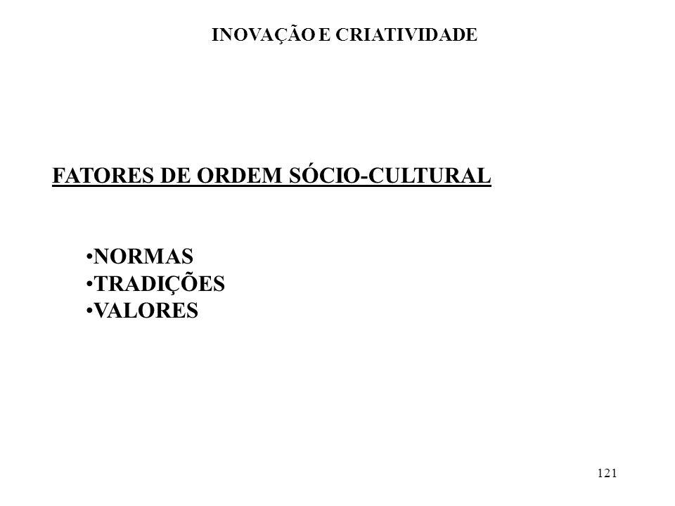 121 INOVAÇÃO E CRIATIVIDADE FATORES DE ORDEM SÓCIO-CULTURAL NORMAS TRADIÇÕES VALORES