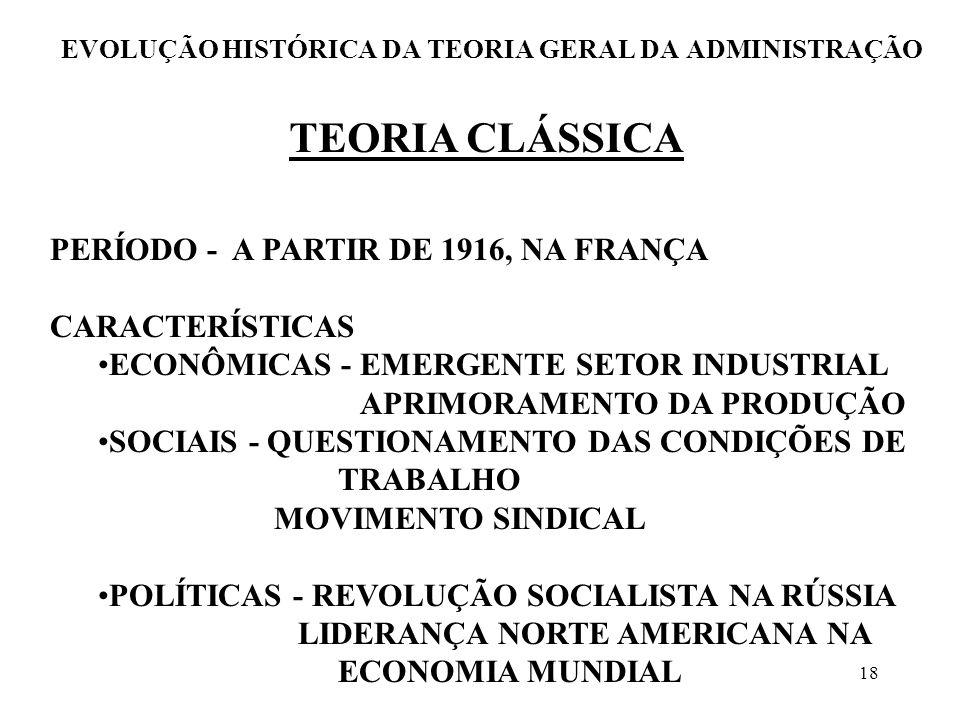18 EVOLUÇÃO HISTÓRICA DA TEORIA GERAL DA ADMINISTRAÇÃO TEORIA CLÁSSICA PERÍODO - A PARTIR DE 1916, NA FRANÇA CARACTERÍSTICAS ECONÔMICAS - EMERGENTE SE