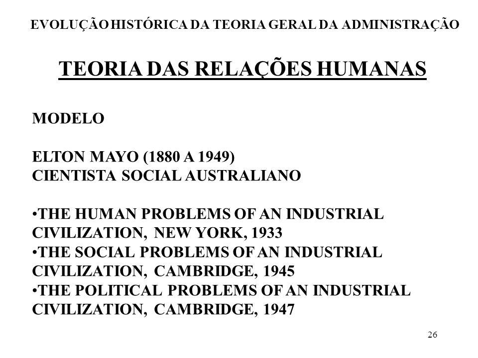 26 EVOLUÇÃO HISTÓRICA DA TEORIA GERAL DA ADMINISTRAÇÃO TEORIA DAS RELAÇÕES HUMANAS MODELO ELTON MAYO (1880 A 1949) CIENTISTA SOCIAL AUSTRALIANO THE HU