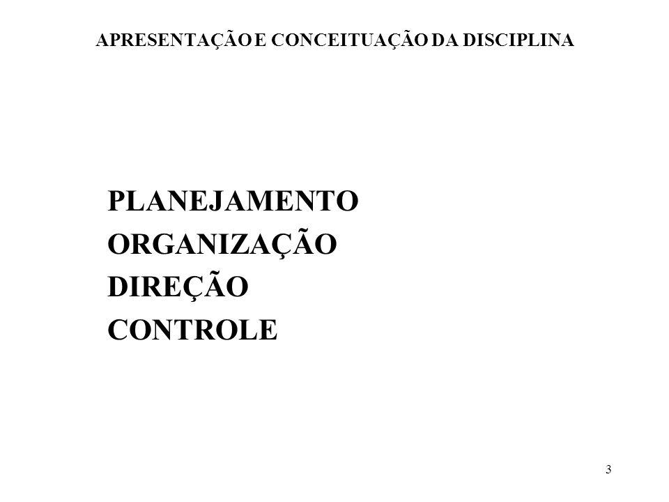 3 APRESENTAÇÃO E CONCEITUAÇÃO DA DISCIPLINA PLANEJAMENTO ORGANIZAÇÃO DIREÇÃO CONTROLE