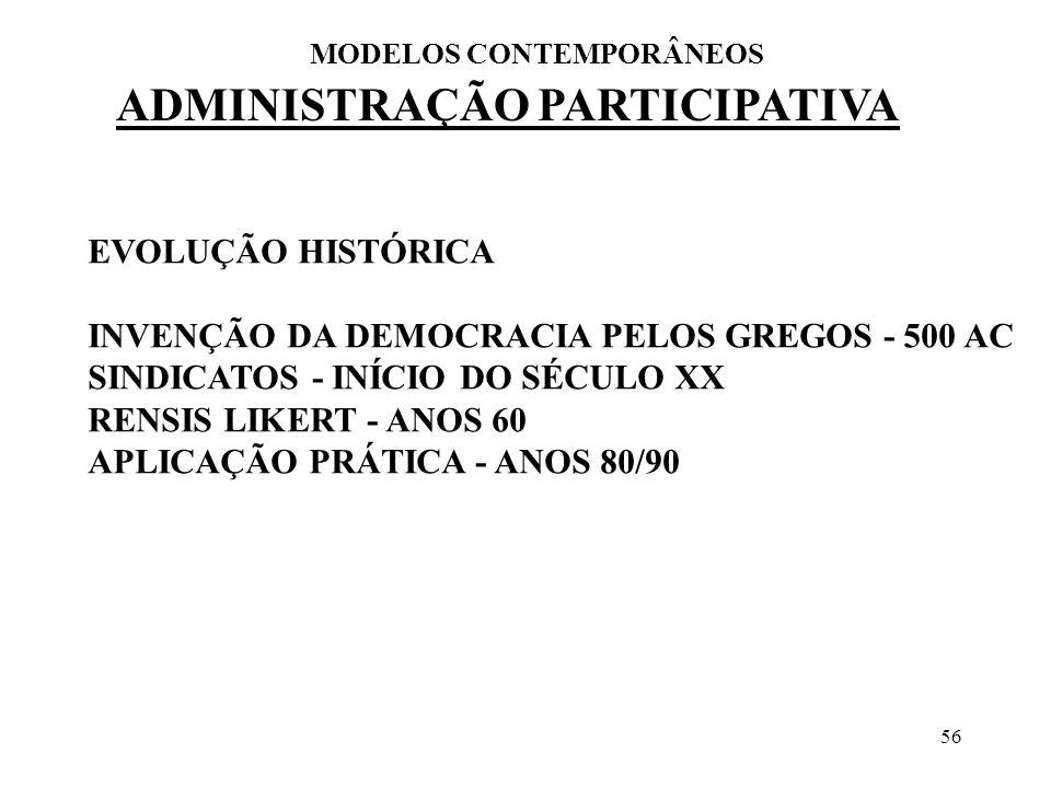 56 ADMINISTRAÇÃO PARTICIPATIVA MODELOS CONTEMPORÂNEOS EVOLUÇÃO HISTÓRICA INVENÇÃO DA DEMOCRACIA PELOS GREGOS - 500 AC SINDICATOS - INÍCIO DO SÉCULO XX