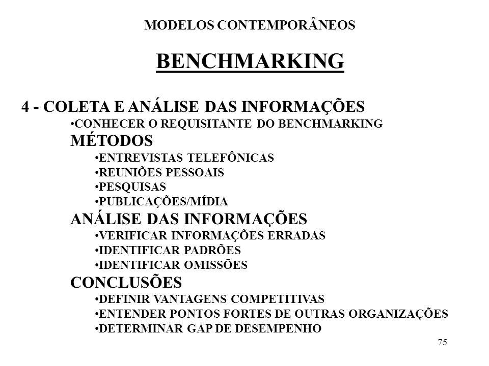 75 BENCHMARKING MODELOS CONTEMPORÂNEOS 4 - COLETA E ANÁLISE DAS INFORMAÇÕES CONHECER O REQUISITANTE DO BENCHMARKING MÉTODOS ENTREVISTAS TELEFÔNICAS RE